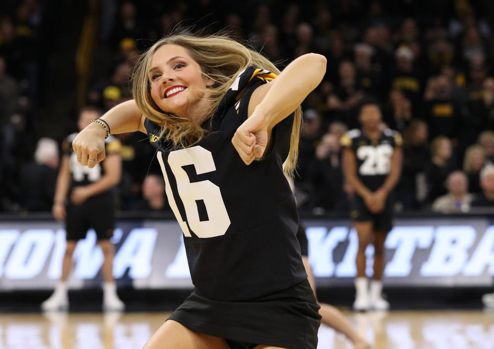 The Iowa Dance Team performs with the Iowa Football Team at halftime of the Iowa Hawkeyes game against the Indiana Hoosiers Friday, February 22, 2019 at Carver-Hawkeye Arena. (Brian Ray/hawkeyesports.com)