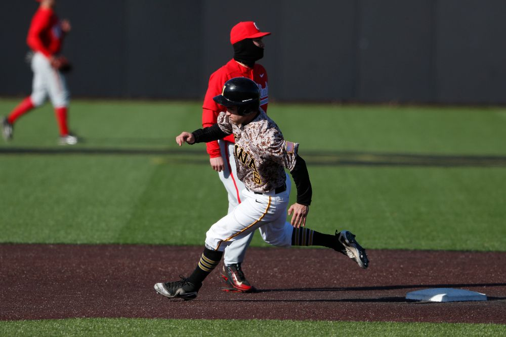Iowa Hawkeyes outfielder Justin Jenkins (6) against the Ohio State Buckeyes Saturday, April 7, 2018 at Duane Banks Field. (Brian Ray/hawkeyesports.com)