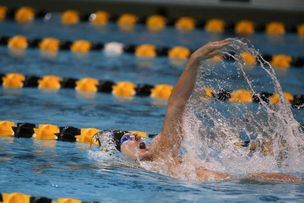 Iowa's Anze Fers Erzen swims the 200-yard backstroke during the Iowa swimming and diving meet vs Notre Dame and Illinois on Saturday, January 11, 2020 at the Campus Recreation and Wellness Center. (Lily Smith/hawkeyesports.com)