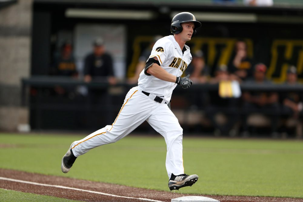 Iowa Hawkeyes outfielder Robert Neustrom (44) hits a home run against the Missouri Tigers Tuesday, May 1, 2018 at Duane Banks Field. (Brian Ray/hawkeyesports.com)