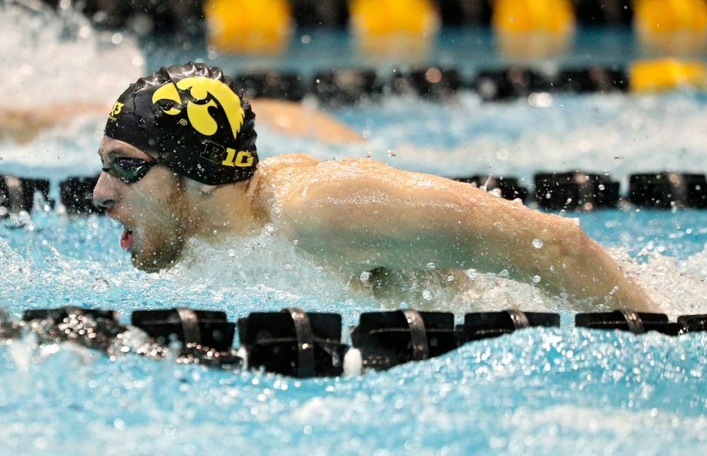 Iowa's Jackson Allmon swims the men's 200-yard butterfly event during their meet against Michigan State and Northern Iowa at the Campus Recreation and Wellness Center in Iowa City on Friday, Oct 4, 2019. (Stephen Mally/hawkeyesports.com)