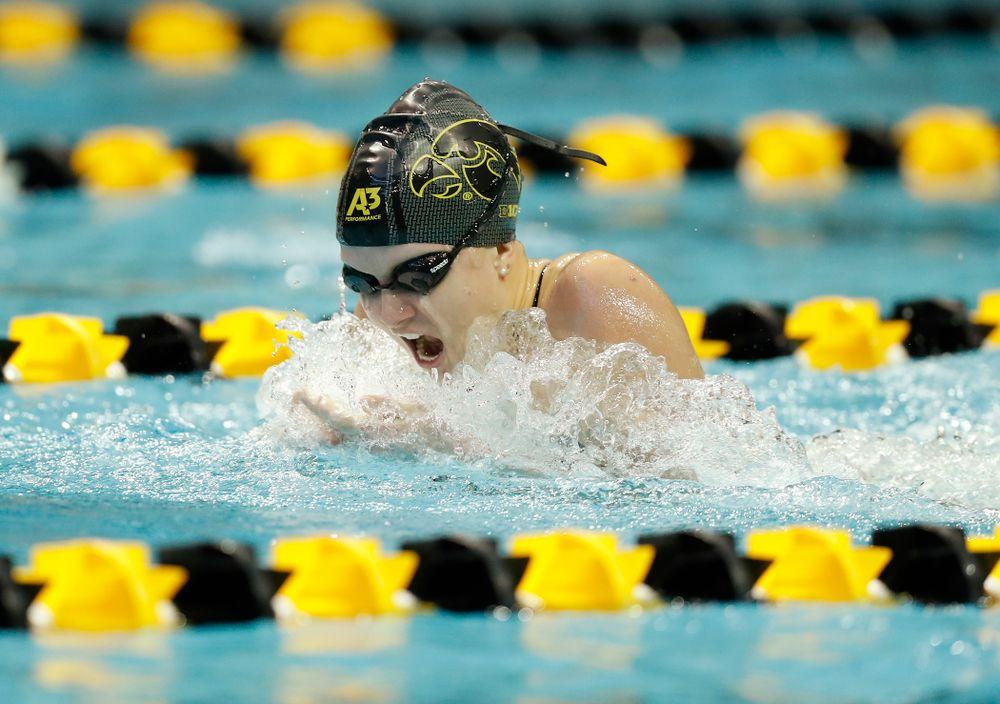 Iowa's Shea Hoyt swims the 100 yard breaststroke