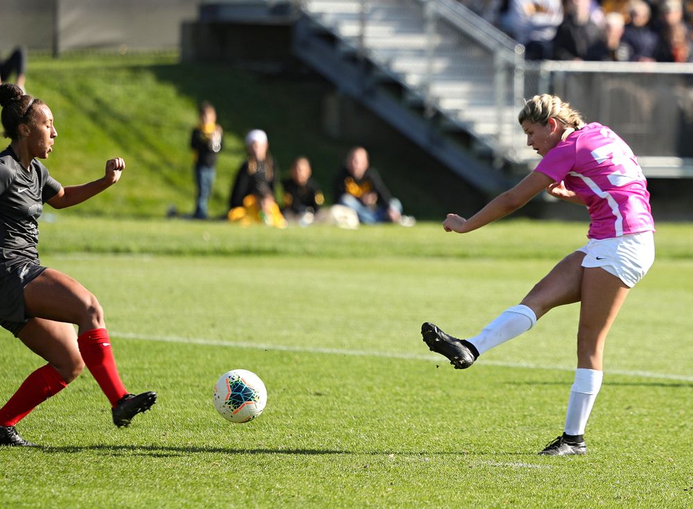 Iowa forward Gianna Gourley (32) scores a goal during the second half of their match at the Iowa Soccer Complex in Iowa City on Sunday, Oct 27, 2019. (Stephen Mally/hawkeyesports.com)