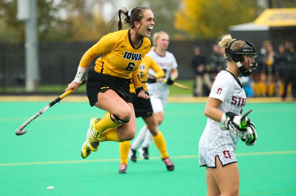 Iowa Hawkeyes defender Anthe Nijziel (6) celebrates after assisting on a goal during a game against Stanford at Grant Field on October 7, 2018. (Tork Mason/hawkeyesports.com)