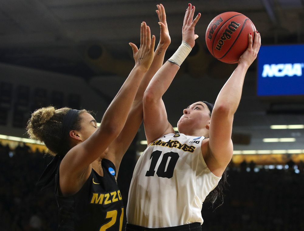 Iowa Hawkeyes center Megan Gustafson (10) puts up a shot during the fourth quarter of their second round game in the 2019 NCAA Women's Basketball Tournament at Carver Hawkeye Arena in Iowa City on Sunday, Mar. 24, 2019. (Stephen Mally for hawkeyesports.com)