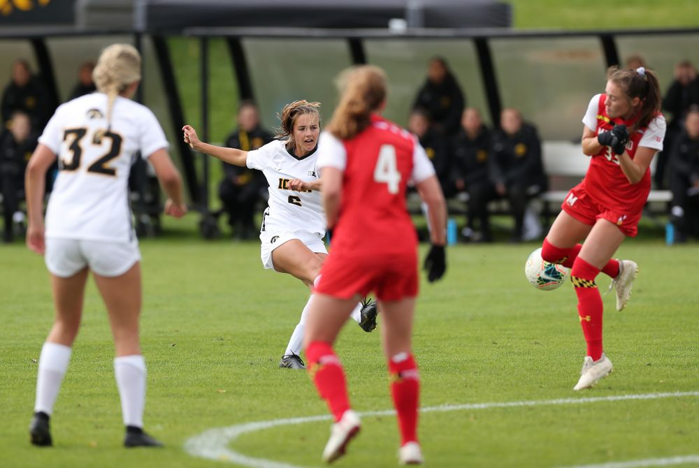 Iowa Hawkeyes midfielder Isabella Blackman (6) scores against the Maryland Terrapins Sunday, October 13, 2019 on senior day. (Brian Ray/hawkeyesports.com)