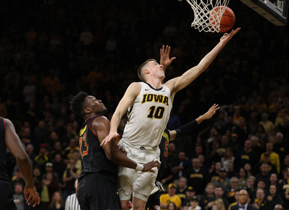 Iowa Hawkeyes guard Joe Wieskamp (10) against the Maryland Terapins Tuesday, February 19, 2019 at Carver-Hawkeye Arena. (Brian Ray/hawkeyesports.com)
