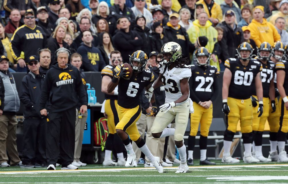 Iowa Hawkeyes wide receiver Ihmir Smith-Marsette (6) makes a one handed catch against the Purdue Boilermakers Saturday, October 19, 2019 at Kinnick Stadium. (Brian Ray/hawkeyesports.com)