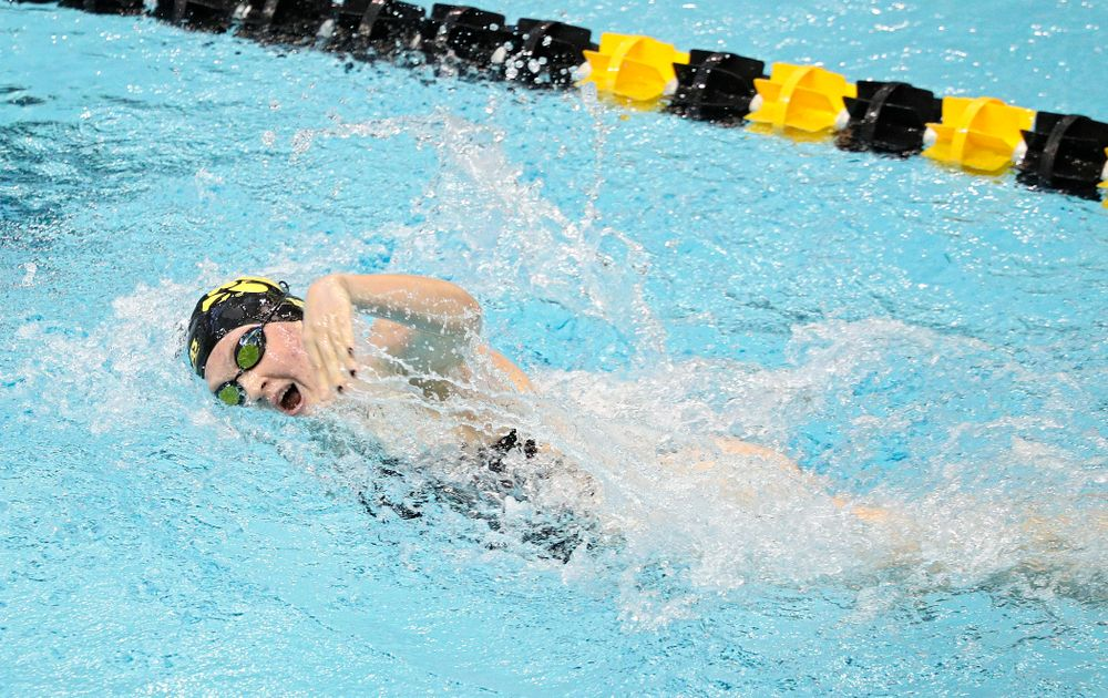 Iowa's Erin Lang swims the women's 200-yard freestyle event during their meet against Michigan State and Northern Iowa at the Campus Recreation and Wellness Center in Iowa City on Friday, Oct 4, 2019. (Stephen Mally/hawkeyesports.com)