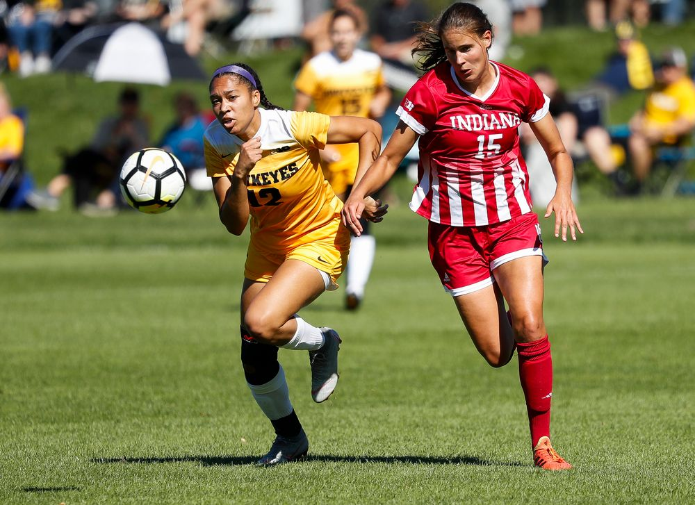 Iowa Hawkeyes forward Olivia Fiegel (12) chases down the ball during a game against Indiana at the Iowa Soccer Complex on September 23, 2018. (Tork Mason/hawkeyesports.com)