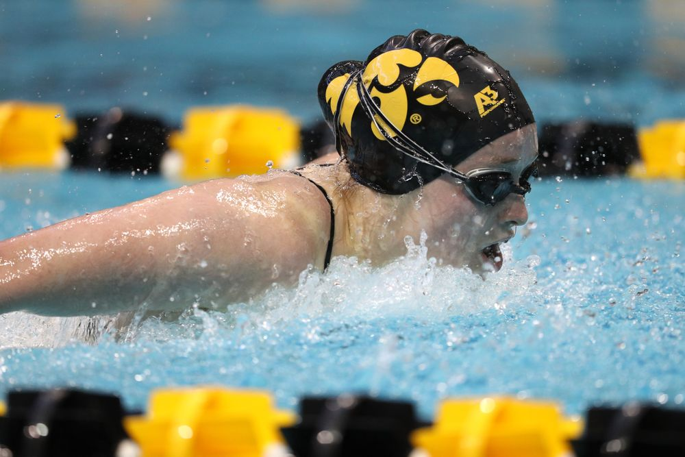 Iowa's Kelsey Drake swims the 200 yard butterfly during a double dual against Wisconsin and Northwestern Saturday, January 19, 2019 at the Campus Recreation and Wellness Center. (Brian Ray/hawkeyesports.com)