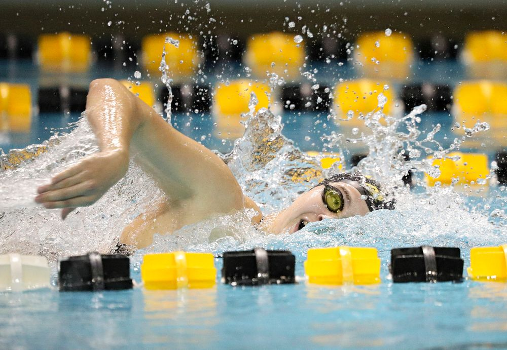Iowa's Maddie Ziegert swims the freestyle section of the 100-yard individual medley event during their meet against Michigan State at the Campus Recreation and Wellness Center in Iowa City on Thursday, Oct 3, 2019. (Stephen Mally/hawkeyesports.com)