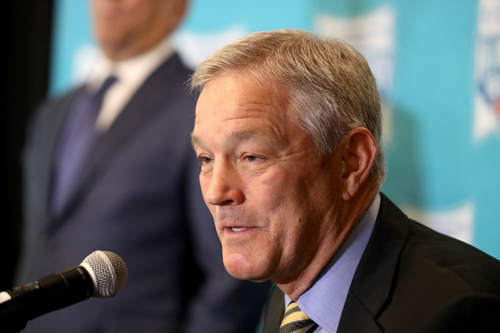 Iowa Hawkeyes head coach Kirk Ferentz answers questions during a press conference leading up to the Holiday Bowl Thursday, December 26, 2019 in San Diego. (Brian Ray/hawkeyesports.com)