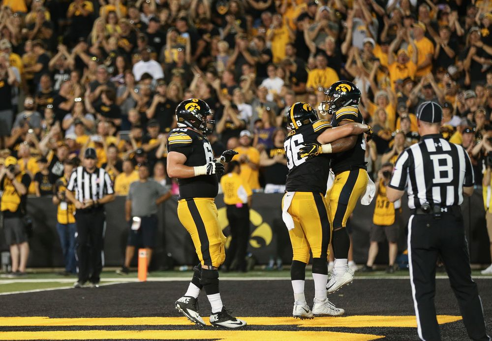 Iowa Hawkeyes running back Mekhi Sargent (10) celebrates after scoring a touchdown during a game against Northern Iowa at Kinnick Stadium on September 15, 2018. (Tork Mason/hawkeyesports.com)