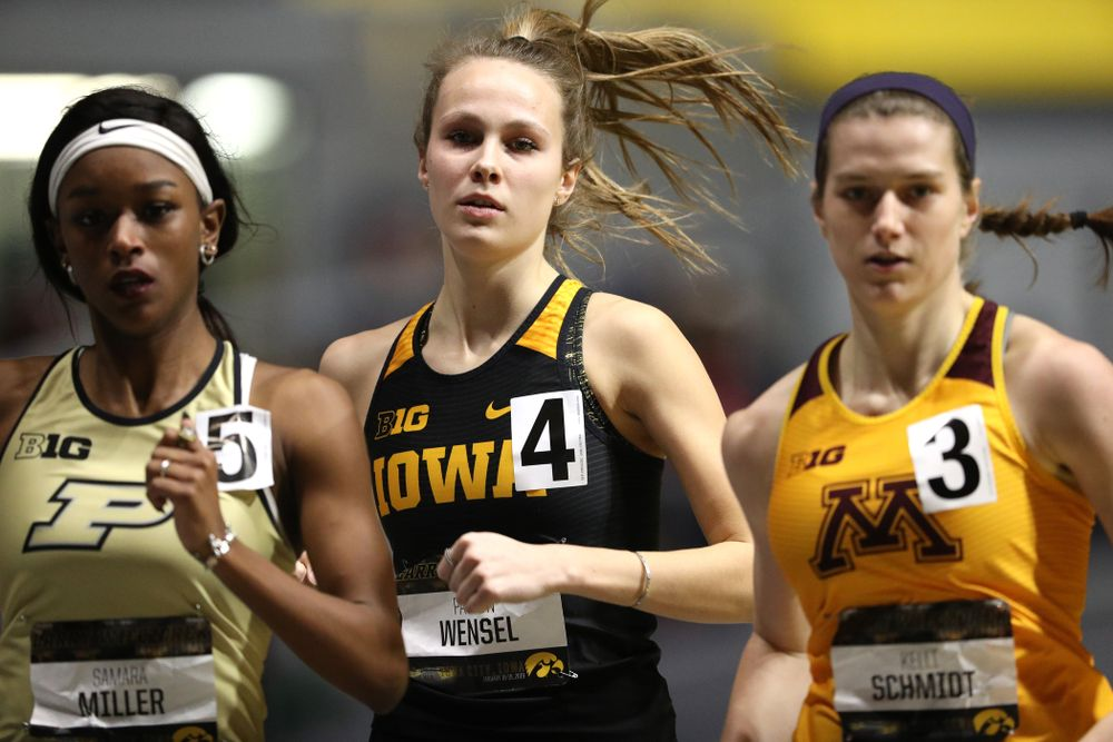 Iowa's Payton Wensel runs the 600 meter premier during the 2019 Larry Wieczorek Invitational Friday, January 18, 2019 at the Hawkeye Tennis and Recreation Center. (Brian Ray/hawkeyesports.com)