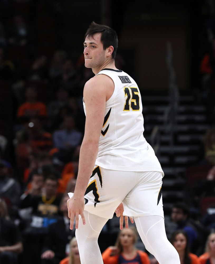 Iowa Hawkeyes forward Ryan Kriener (15) against the Illinois Fighting Illini in the 2019 Big Ten Men's Basketball Tournament Thursday, March 14, 2019 at the United Center in Chicago. (Brian Ray/hawkeyesports.com)