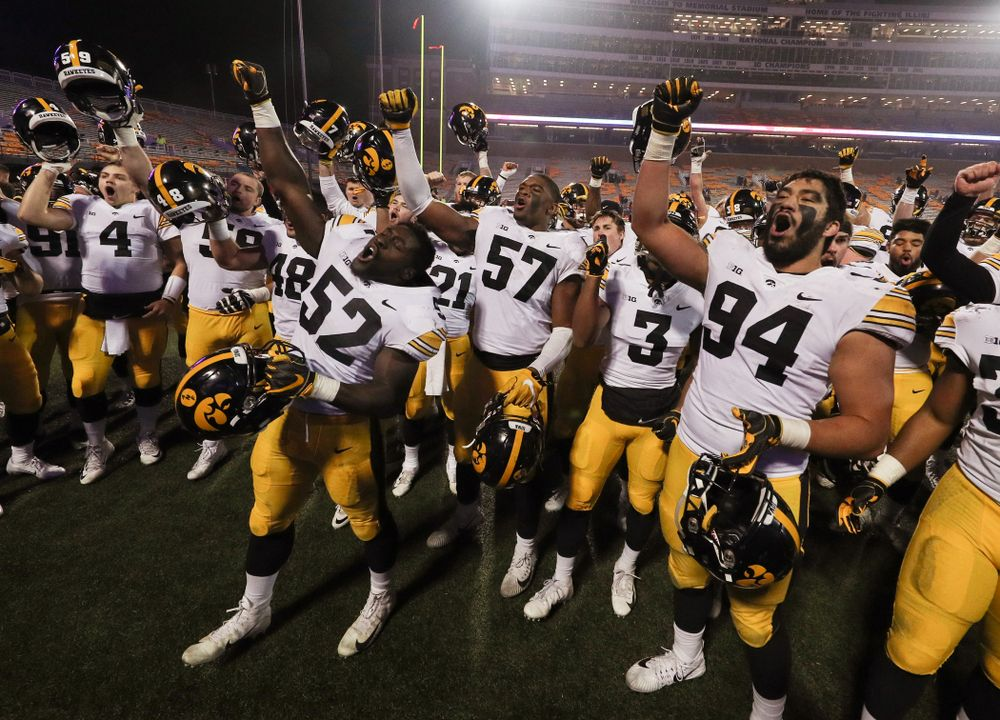 """The Iowa Hawkeyes sing the """"Fight Song"""" following their game against the Illinois Fighting Illini Saturday, November 17, 2018 at Memorial Stadium in Champaign, Ill. (Brian Ray/hawkeyesports.com)"""