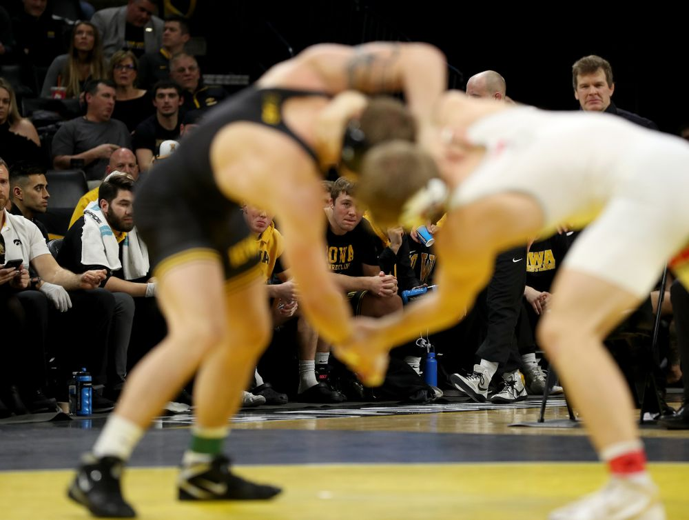 Jacob Warner cheers on Iowa's Cash Wilcke as he wrestles Ohio State's Kollin Moore at 197 pounds Friday, January 24, 2020 at Carver-Hawkeye Arena. Moore won the match 8-3. (Brian Ray/hawkeyesports.com)