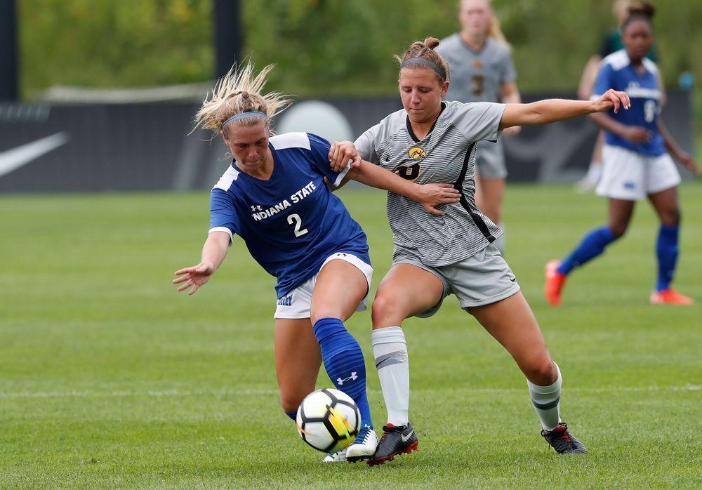 Iowa Hawkeyes Olivia Hellweg (16) against Indiana State Sunday, August 26, 2018 at the Iowa Soccer Complex. (Brian Ray/hawkeyesports.com)