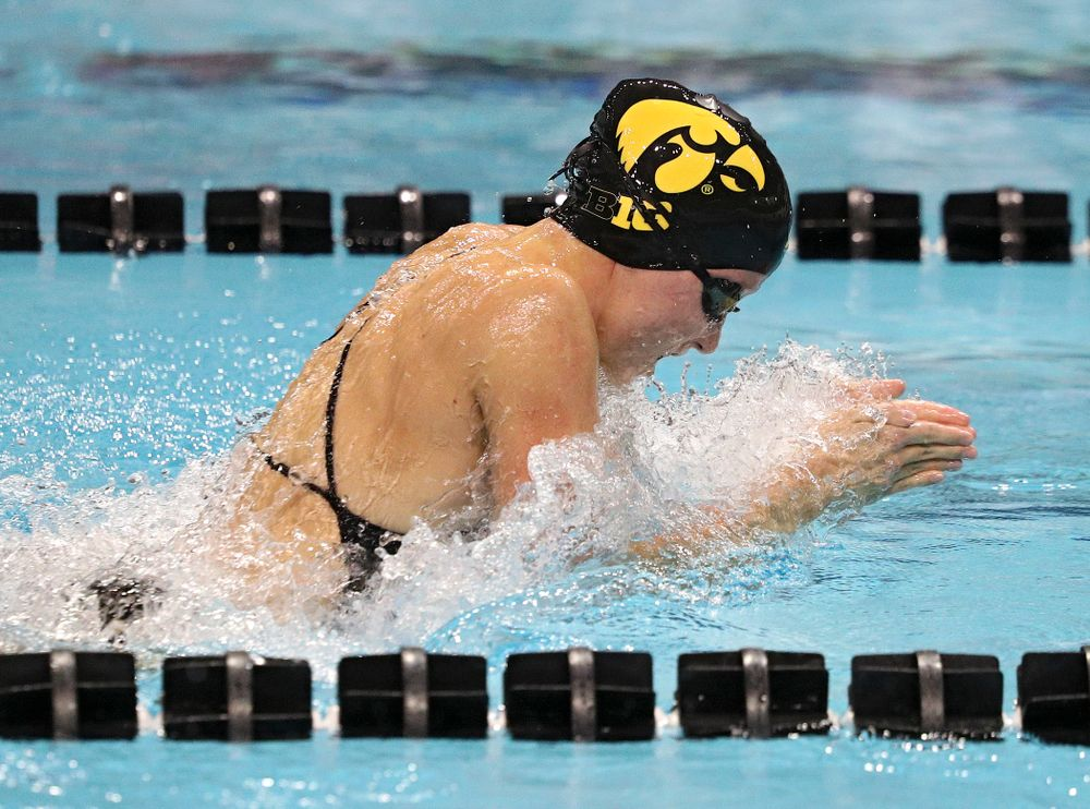 Iowa's Aleksandra Olesiak swims the women's 50-yard breaststroke event during their meet against Michigan State at the Campus Recreation and Wellness Center in Iowa City on Thursday, Oct 3, 2019. (Stephen Mally/hawkeyesports.com)