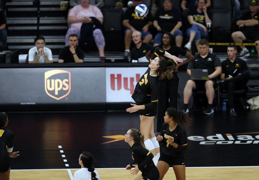 Courtney Buzzerioagainst the Iowa State Cyclones Saturday, September 21, 2019 at Carver-Hawkeye Arena. (Brian Ray/hawkeyesports.com)