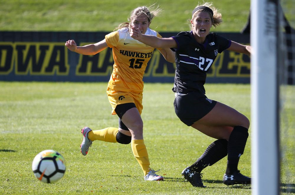 Iowa Hawkeyes forward Rose Ripslinger (15) passes the ball during a game against Northwestern at the Iowa Soccer Complex on October 21, 2018. (Tork Mason/hawkeyesports.com)
