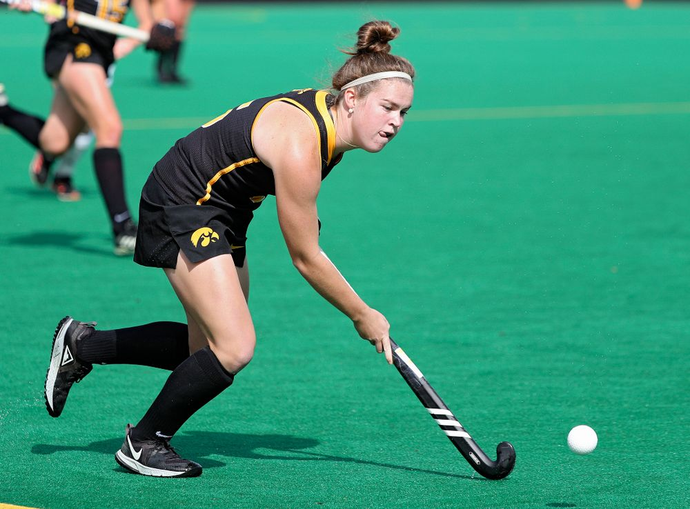 Iowa's Meghan Conroy (5) moves with the ball during the first quarter of their match at Grant Field in Iowa City on Friday, Oct 4, 2019. (Stephen Mally/hawkeyesports.com)