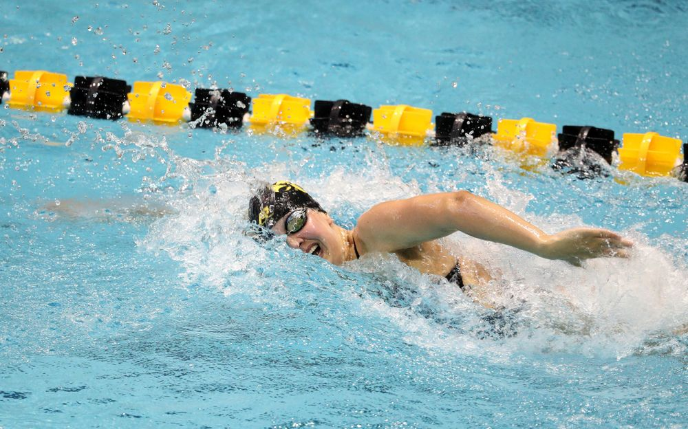 IowaÕs Hannah Burvill competes in the 200 yard freestyle against Notre Dame and Illinois Saturday, January 11, 2020 at the Campus Recreation and Wellness Center.  (Brian Ray/hawkeyesports.com)