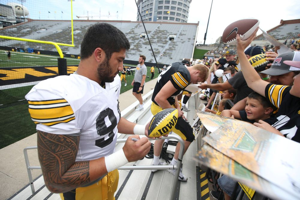 Iowa Hawkeyes defensive end A.J. Epenesa (94) during Kids Day at Kinnick Stadium on Saturday, August 10, 2019. (Lily Smith/hawkeyesports.com)