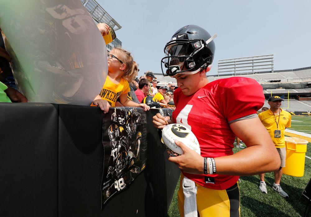 Iowa Hawkeyes quarterback Nathan Stanley (4) during Kids Day Saturday, August 11, 2018 at Kinnick Stadium. (Brian Ray/hawkeyesports.com)
