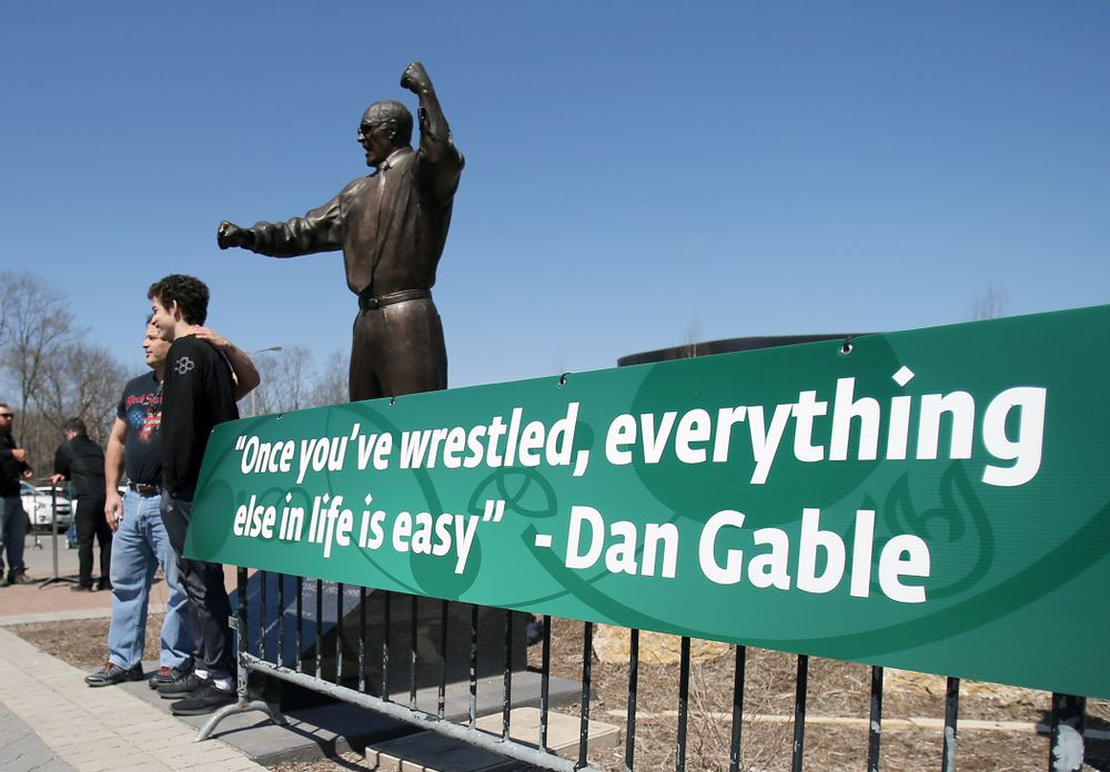 Photo opportunity at the Dan Gable statue