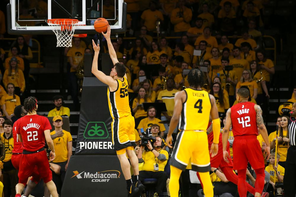 Iowa Hawkeyes center Luka Garza (55) attempts a layup during the Iowa men's basketball game vs Rutgers on Wednesday, January 22, 2020 at Carver-Hawkeye Arena. (Lily Smith/hawkeyesports.com)