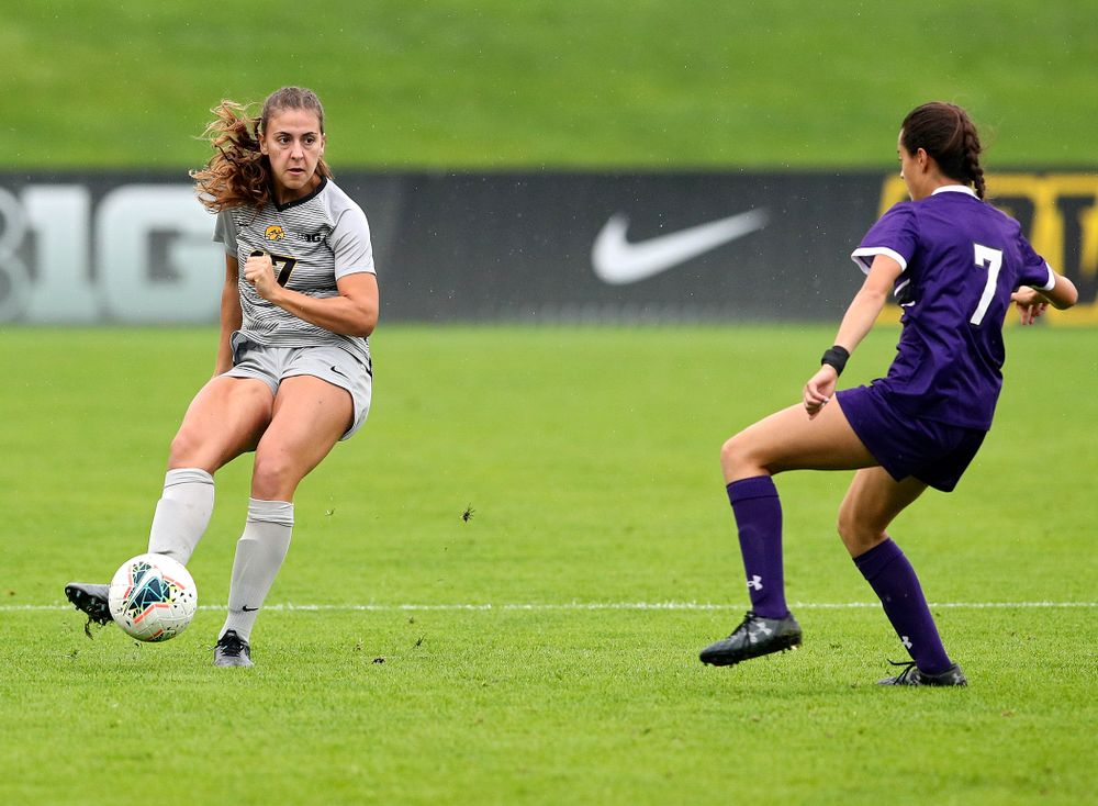 Iowa defender Hannah Drkulec (17) passes the ball during the first half of their match at the Iowa Soccer Complex in Iowa City on Sunday, Sep 29, 2019. (Stephen Mally/hawkeyesports.com)