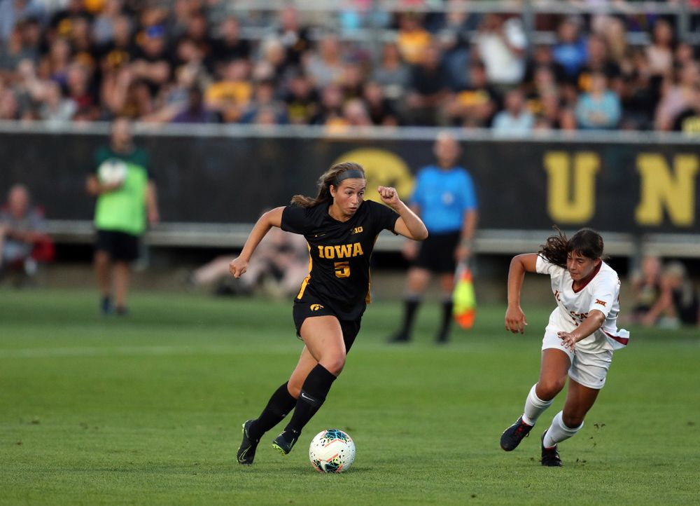 Iowa Hawkeyes defender Riley Whitaker (5) during a 2-1 victory over the Iowa State Cyclones Thursday, August 29, 2019 in the Iowa Corn Cy-Hawk series at the Iowa Soccer Complex. (Brian Ray/hawkeyesports.com)