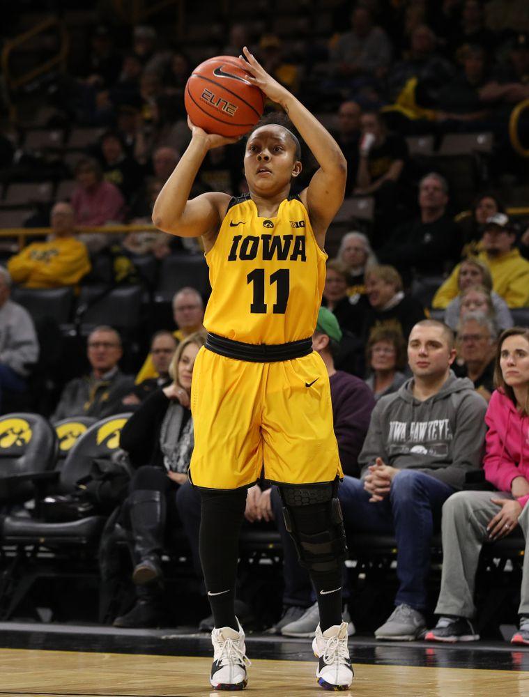 Iowa Hawkeyes guard Tania Davis (11) against the Michigan State Spartans Thursday, February 7, 2019 at Carver-Hawkeye Arena. (Brian Ray/hawkeyesports.com)