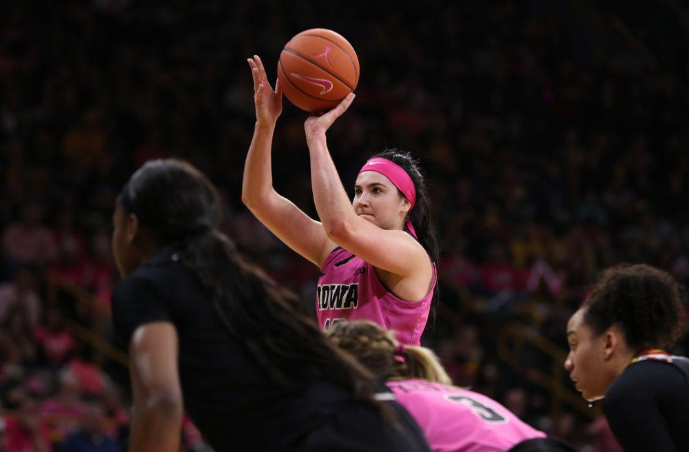 Iowa Hawkeyes forward Megan Gustafson (10) shoots free throws against the seventh ranked Maryland Terrapins Sunday, February 17, 2019 at Carver-Hawkeye Arena. (Brian Ray/hawkeyesports.com)