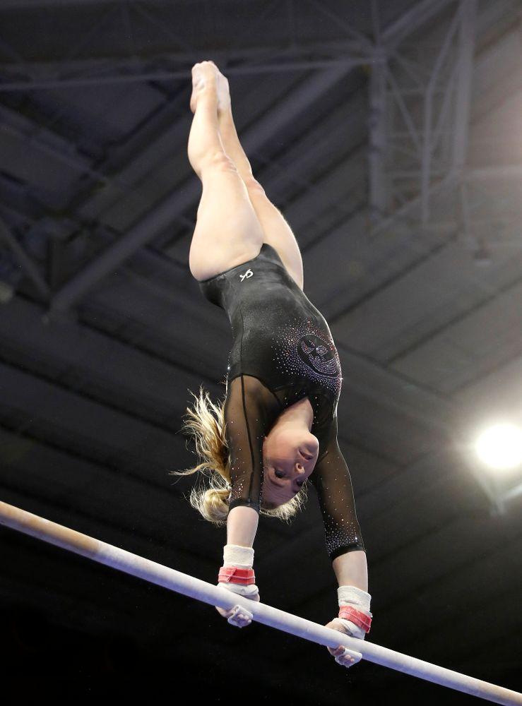 Charlotte Sullivan competes on the bars