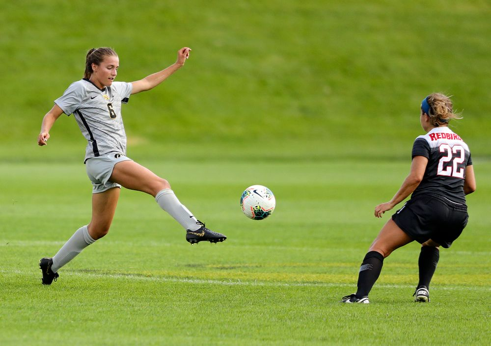 Iowa midfielder Isabella Blackman (6) passes the ball during the first half of their match at the Iowa Soccer Complex in Iowa City on Sunday, Sep 1, 2019. (Stephen Mally/hawkeyesports.com)