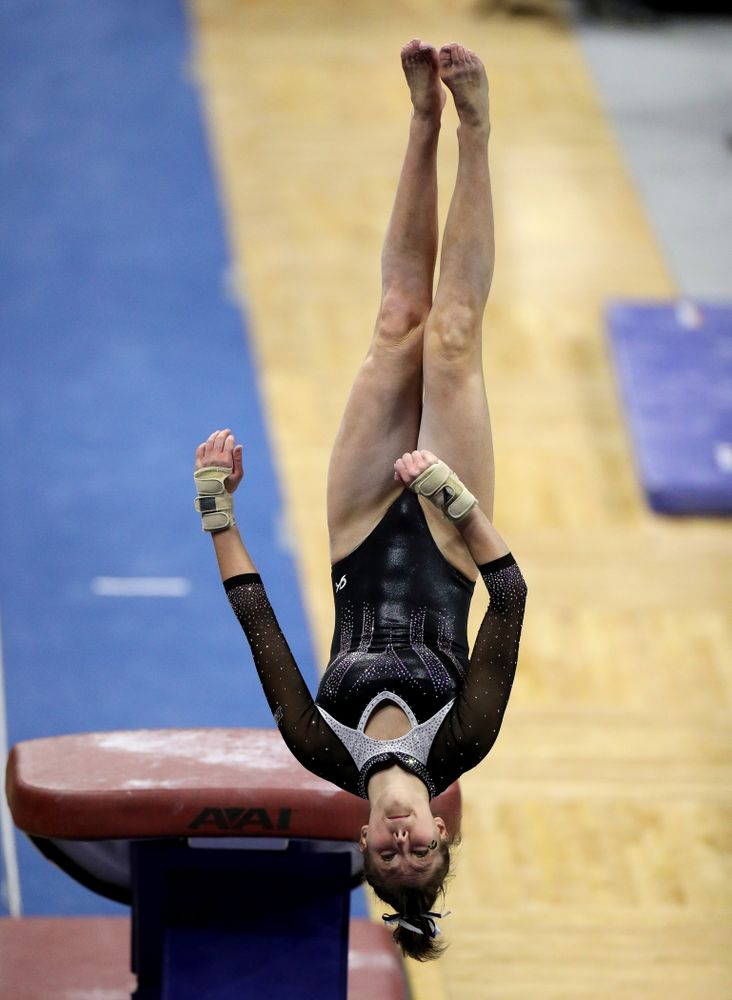 Iowa's Bridget Killian competes on the vault against Michigan State Saturday, February 1, 2020 at Carver-Hawkeye Arena. (Brian Ray/hawkeyesports.com)
