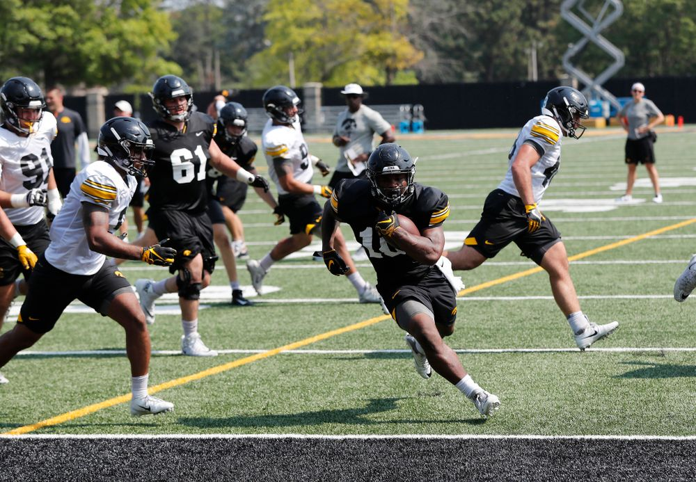 Iowa Hawkeyes running back Mekhi Sargent (10) during practice No. 7 of fall camp Friday, August 10, 2018 at the Kenyon Football Practice Facility. (Brian Ray/hawkeyesports.com)