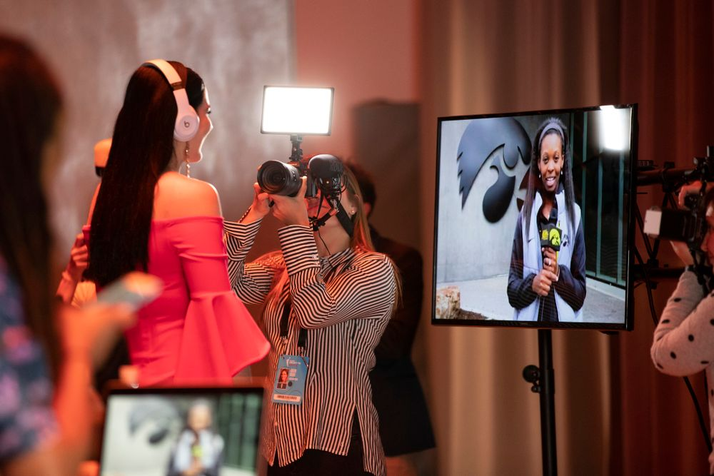 Iowa Hawkeyes forward Megan Gustafson (10) after being selected by the Dallas Wings in the second round of the 2019 WNBA Draft Wednesday, April 10, 2019 at Nike New York Headquarters in New York City. (Brian Ray/hawkeyesports.com)