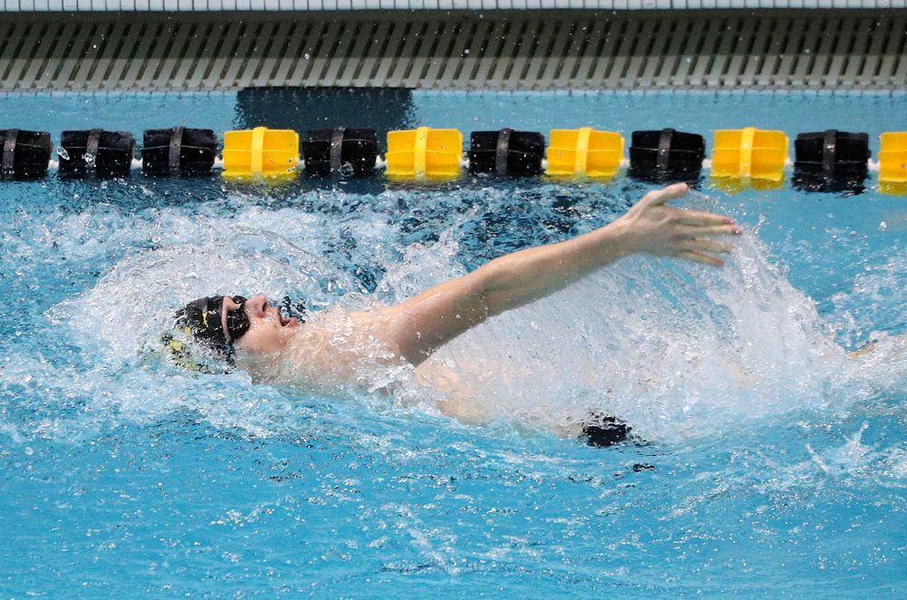Iowa's Jacob Rosenkoetter swims the men's 200-yard backstroke event during their meet against Michigan State and Northern Iowa at the Campus Recreation and Wellness Center in Iowa City on Friday, Oct 4, 2019. (Stephen Mally/hawkeyesports.com)