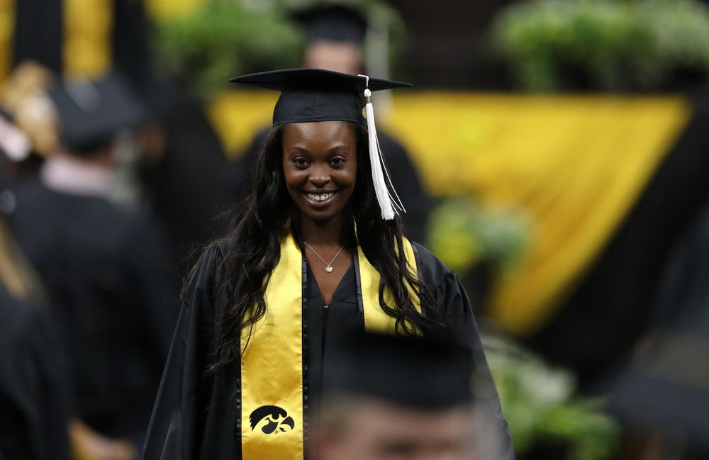 Iowa WomenÕs Tennis player Adorabol Huckleby during the College of Liberal Arts and Sciences spring commencement Saturday, May 11, 2019 at Carver-Hawkeye Arena. (Brian Ray/hawkeyesports.com)
