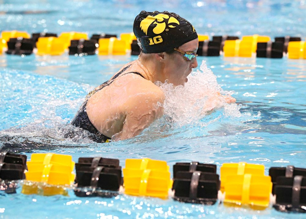 Iowa's Georgia Clark swims the women's 200 yard individual medley preliminary event during the 2020 Women's Big Ten Swimming and Diving Championships at the Campus Recreation and Wellness Center in Iowa City on Thursday, February 20, 2020. (Stephen Mally/hawkeyesports.com)