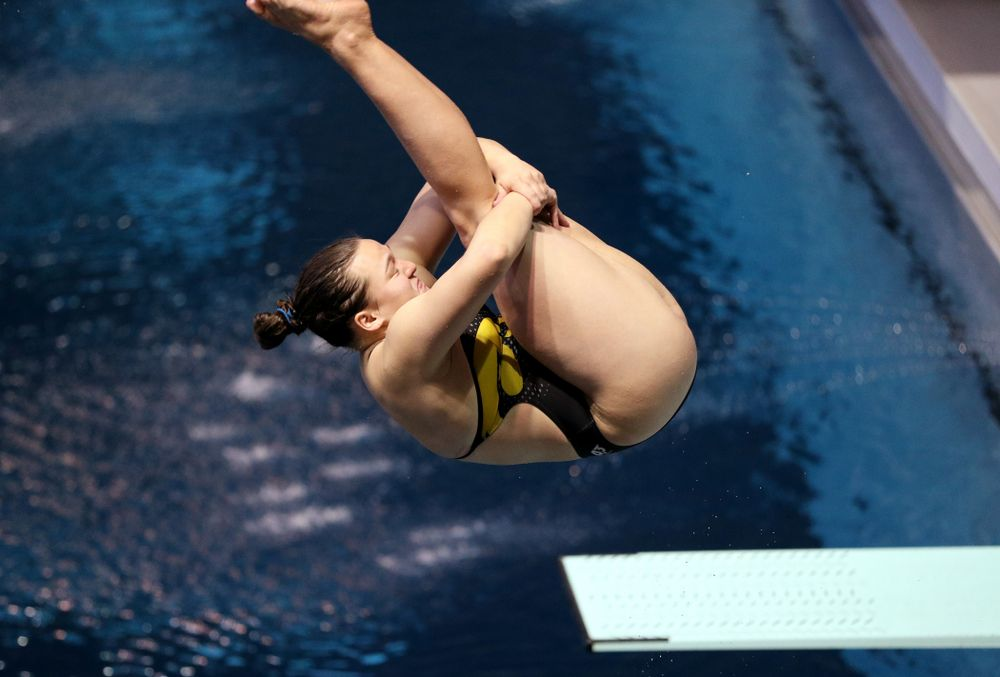Jacintha Thomas competes on the 1 meter board Thursday, November 15, 2018 during the 2018 Hawkeye Invitational at the Campus Recreation and Wellness Center. (Brian Ray/hawkeyesports.com)