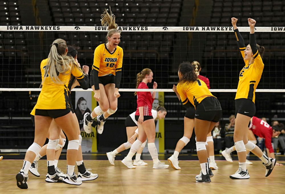 Iowa's Hannah Clayton (18) celebrates a score during their match at Carver-Hawkeye Arena in Iowa City on Sunday, Oct 20, 2019. (Stephen Mally/hawkeyesports.com)