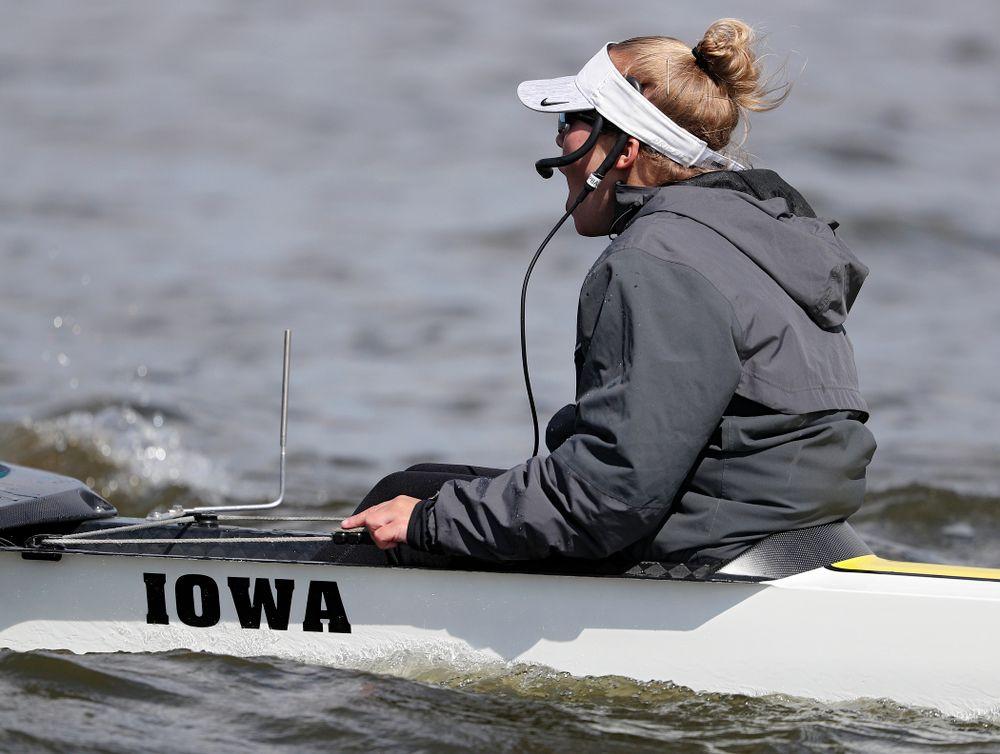 Iowa's Logan Jones during their 1 Varsity 8 race against Wisconsin in their Big Ten Double Dual Rowing Regatta at Lake Macbride in Solon on Saturday, Apr. 13, 2019. (Stephen Mally/hawkeyesports.com)