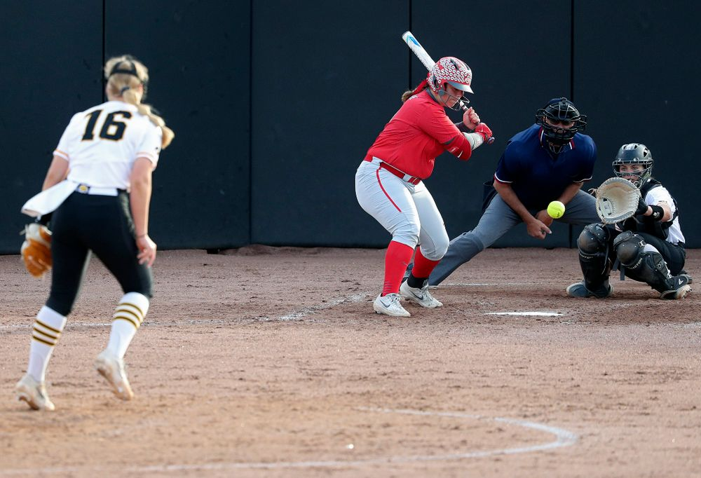 Iowa pitcher Sarah Lehman (16) delivers a strikeout pitch to catcher Abby Lien (9) during the fourth inning of their game against Ohio State at Pearl Field in Iowa City on Friday, May. 3, 2019. (Stephen Mally/hawkeyesports.com)
