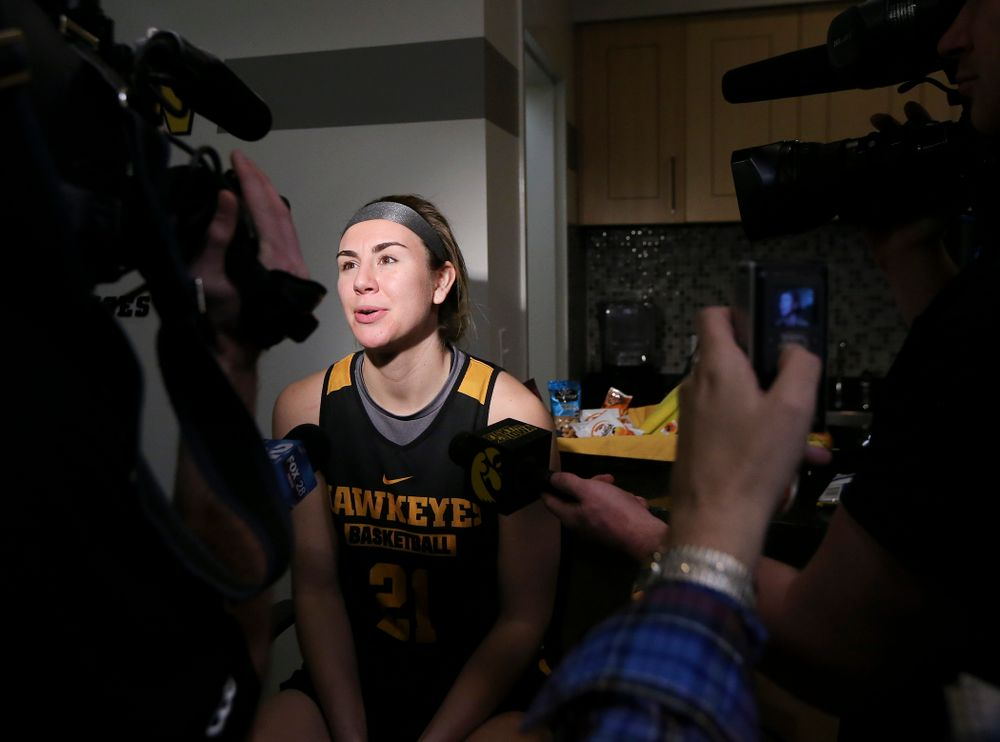 Iowa Hawkeyes forward Hannah Stewart (21) answers questions during media availability before their next game in the 2019 NCAA Women's Basketball Tournament at Carver Hawkeye Arena in Iowa City on Saturday, Mar. 23, 2019. (Stephen Mally for hawkeyesports.com)