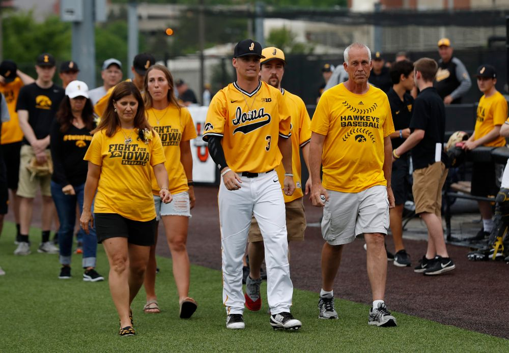 Iowa Hawkeyes infielder Matt Hoeg (3) during senior day activities before their game against the Penn State Nittany Lions Saturday, May 19, 2018 at Duane Banks Field. (Brian Ray/hawkeyesports.com)